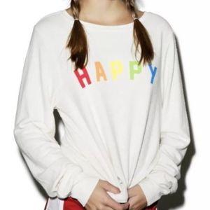 Wildfox Happy Girl Baggy Beach Jumper in White